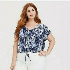 Torrid Blue and White Tie Dyed blouse